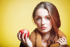 Autumn woman red apple fresh girl glamour eye-lashes Stock Photography