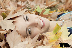 Autumn woman smiling Royalty Free Stock Photo
