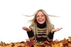Autumn woman in studio Royalty Free Stock Photos