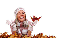 Autumn woman in studio Royalty Free Stock Image