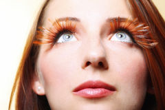 Autumn woman stylish creative make up false eye lashes Stock Photography