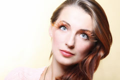 Autumn woman stylish creative make up false eye lashes Royalty Free Stock Photography