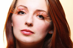Autumn woman stylish creative make up false eye lashes Royalty Free Stock Photos