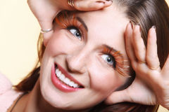Autumn woman stylish creative make up false eye lashes Royalty Free Stock Images