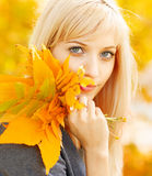 Autumn woman with yellow fall maple leaves. Young woman with autumn leaves in hand and fall yellow maple garden background Stock Photo