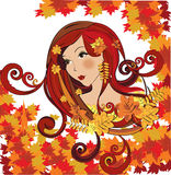 Autumn women, vector illustration Royalty Free Stock Photography