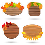 Autumn wood banners with colorful leaves Stock Photos