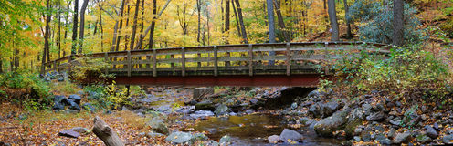 Autumn wood bridge panorama Stock Images