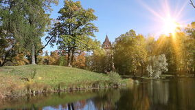 Autumn wood is reflected in the lake in a sunny day.  stock footage
