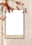 Autumn wooden background with frame and branch rowan Stock Photo