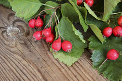 Autumn wooden background with hawthorn berries Royalty Free Stock Photography
