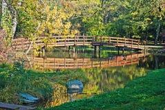 Autumn wooden bridge Stock Images