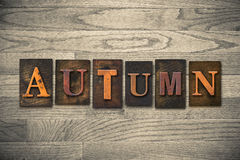 Autumn Wooden Letterpress Theme Royaltyfri Fotografi