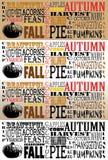 Autumn Word Art Collection-Facebook Timelines - un insieme di 4 Fotografie Stock Libere da Diritti