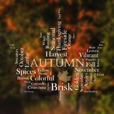 Autumn word cloud in the shape of a leaf. Autumn words written in white text with fall colors in the background stock photo