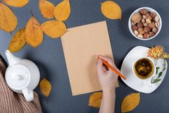 Autumn working desk. Yellow and orange leaves, white cup of herb. Al tea, teapot, craft paper and nuts. Healthy snack. Woman`s hand holding a pencil and writing Royalty Free Stock Images