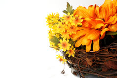 Autumn Wreath. With flowers. Room for copy space royalty free stock photos