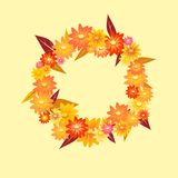 Autumn wreath. Cute flowers autumn wreath on light background Royalty Free Stock Image