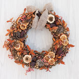 Autumn wreath. Decorative autumn wreath of berries and leaves Stock Photos