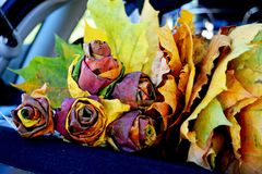 Autumn wreath of dried maple leaves. Handmade roses from dry maple leaves. royalty free stock photography