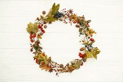 Autumn Wreath Flat Lay. Fall leaves in circle with berries,nuts,. Acorns,flowers,herbs on rustic white background top view. Seasons greetings. Space for text royalty free stock photography