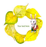 Autumn wreath frame with school rabbit and yellow leaves Stock Photos