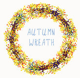 Autumn wreath frame with tree Royalty Free Stock Photos