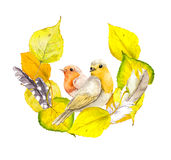 Autumn wreath frame with yellow leaves, feathers and bird. Stock Image