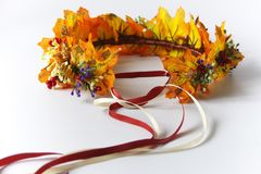 Autumn wreath of autumn leaves. Do it yourself on the instructions. A wreath of maple leaves for the autumn holidays. Crown made independently by the instruction stock images