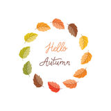 Autumn wreath and lettering. Vector greeting card with autumn wreath.  Colorful leaves and monoline lettering  on white background. Perfect for seasonal holidays Royalty Free Stock Photo