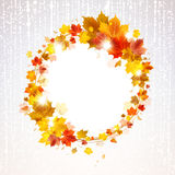 Autumn Wreath of Maple Leaves. With butterflies on a light background royalty free illustration