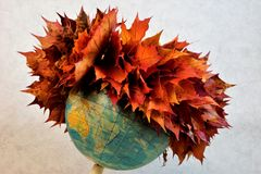 Autumn wreath of maple leaves on the earth`s globe. Autumn wreath of beautiful colorful maple leaves on the globe of the earth. Leaves are different yellow and stock images