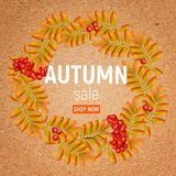 Autumn wreath with rowan, leaves and ashberry on a crafting paper. Beautiful greeting card with a wreath of realistic 3d. Autumn wreath with rowan, leaves and Royalty Free Stock Image