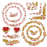 Autumn wreath set.Leaves, berries,branches,acorn Stock Photography