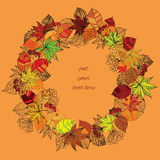 Autumn wreath with text. Vector illustration of autumn wreath with text Stock Image