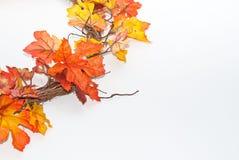 Autumn wreath  on white Stock Photo