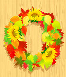 Autumn wreath on wooden background Royalty Free Stock Photography