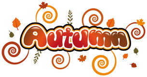 Autumn. Writing in bubble font Stock Photos