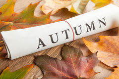 Autumn written on newspaper Stock Image