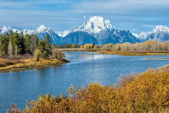 Autumn in Wyoming. Oxbow bend in Grand Teton National Park, Wyoming during autumn royalty free stock photos