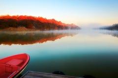 Autumn Xiaoqing lake and morning fog Royalty Free Stock Photo