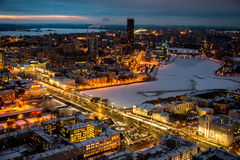 Autumn Yekaterinburg in the evening. Lights are lit, lighted streets, the view from the height of 182 meters Stock Image