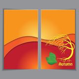 Autumn yellow background, template Stock Photos
