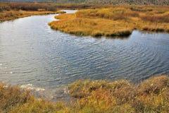 Autumn - yellow grass and  stream Stock Photo