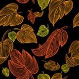 Autumn Yellow Leaves Nahtloser Hintergrund lizenzfreie stockfotos