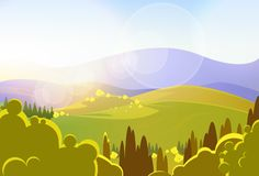 Autumn yellow mountains tree valley landcape. Vector illustration Royalty Free Stock Photos