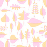 Autumn yellow and pink withered leaves seamless pattern. Autumn yellow and pink withered leaves in flat lay style seamless pattern. Oak leaf, chestnut leaf Stock Photo
