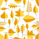 Autumn yellow withered leaves seamless pattern. Autumn yellow withered leaves in flat lay style seamless pattern. Oak leaf, chestnut leaf, maple, birch and Royalty Free Stock Images