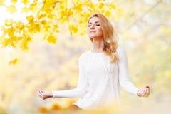 Autumn yoga Stock Photos