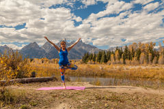 Autumn Yoga in the Tetons Royalty Free Stock Photos
